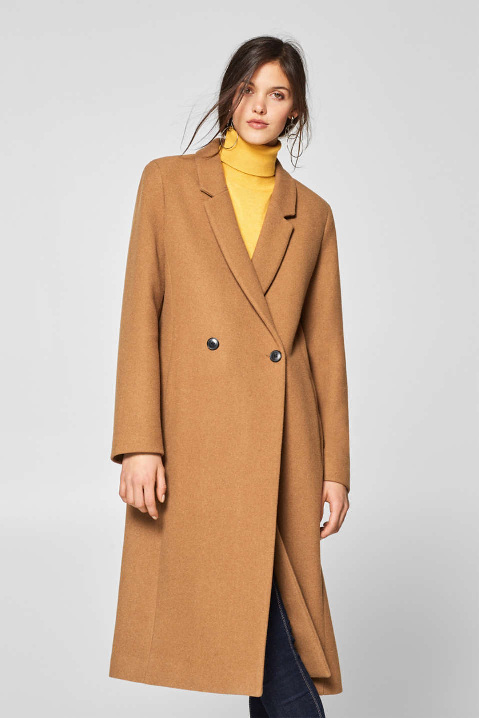 Esprit - Made of blended wool: long, double-breasted coat