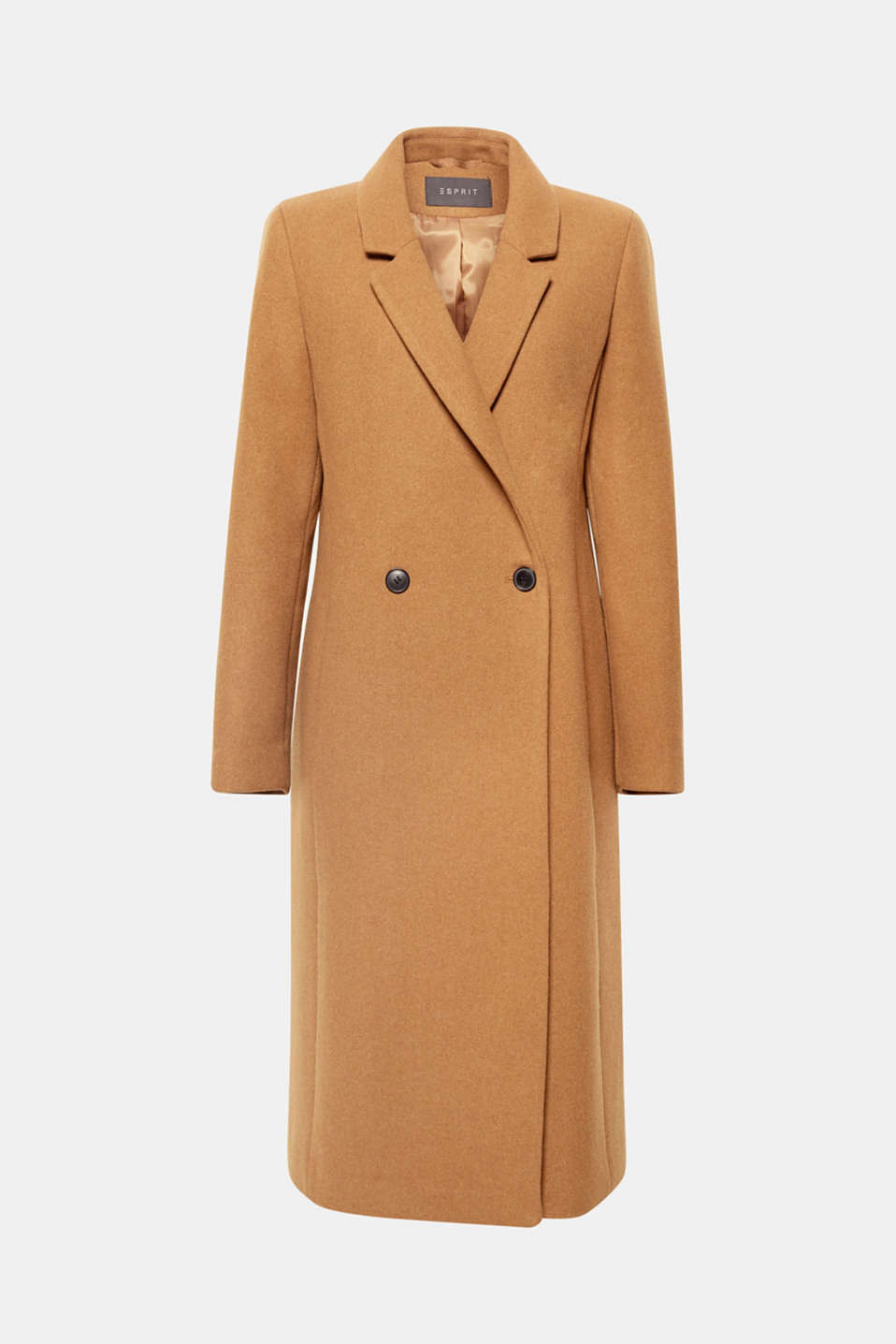 This premium, blended wool coat with modern, two-button fastening is wonderfully warming and super chic for colder days.
