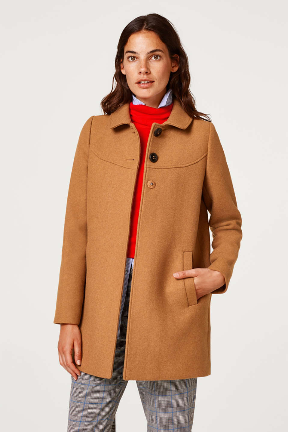 Esprit - Made of wool: coat with a round collar