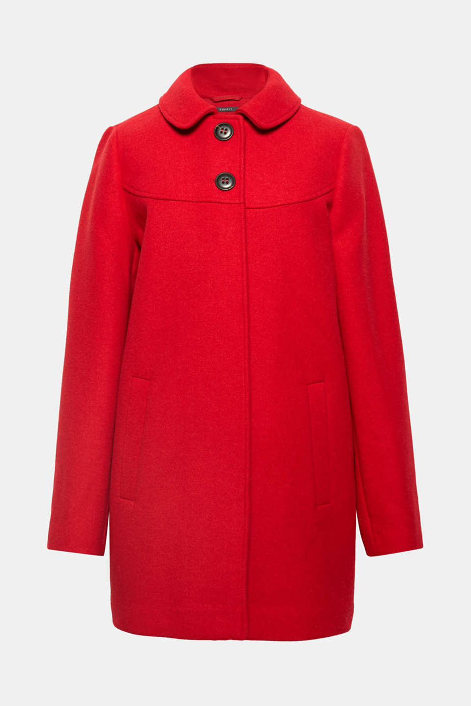 Its colour, striking buttons and slightly flared, A-line cut put this classic, blended wool coat in a class of its own.