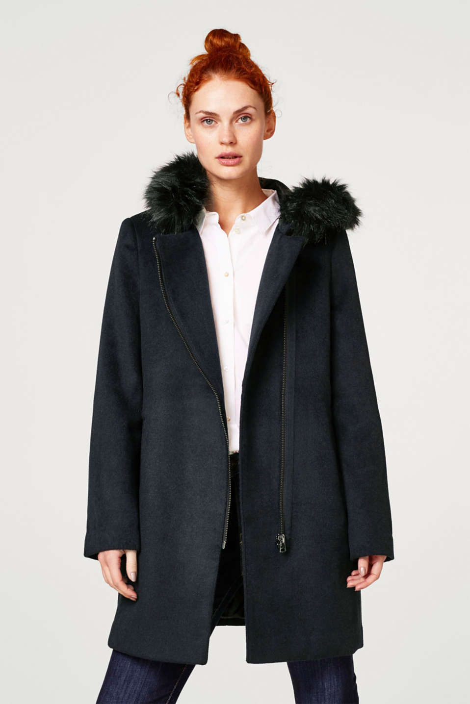Esprit - Wool blend: Coat with a faux fur hood
