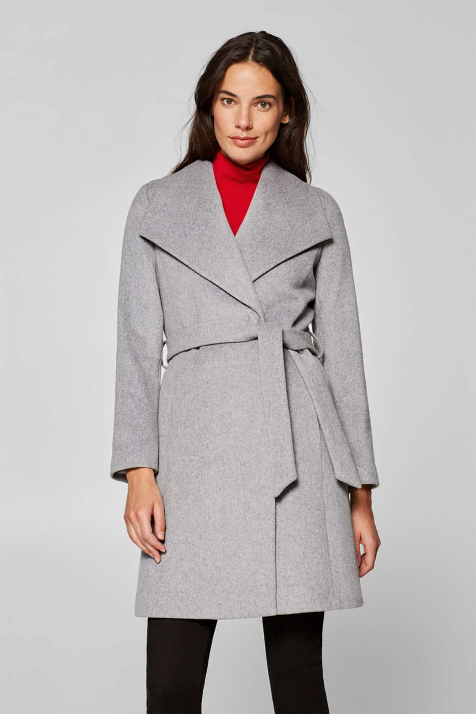 Esprit - Wool blend with cashmere: Coat with large collar
