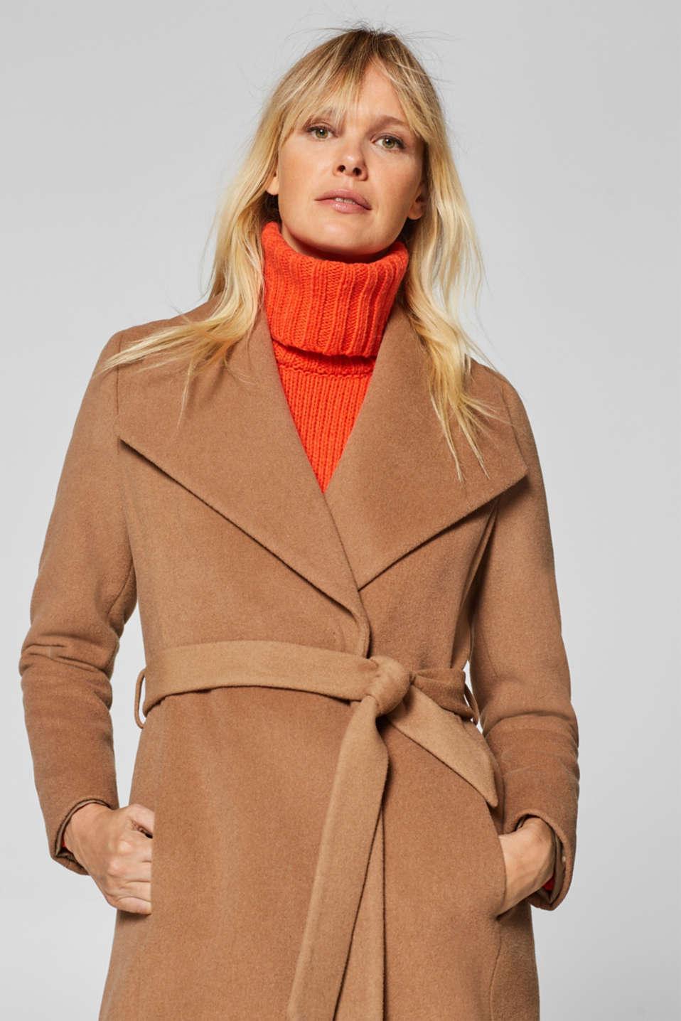 10c59bc14e0a4 Esprit - En mélange de laine et de cachemire   le manteau à col bêche