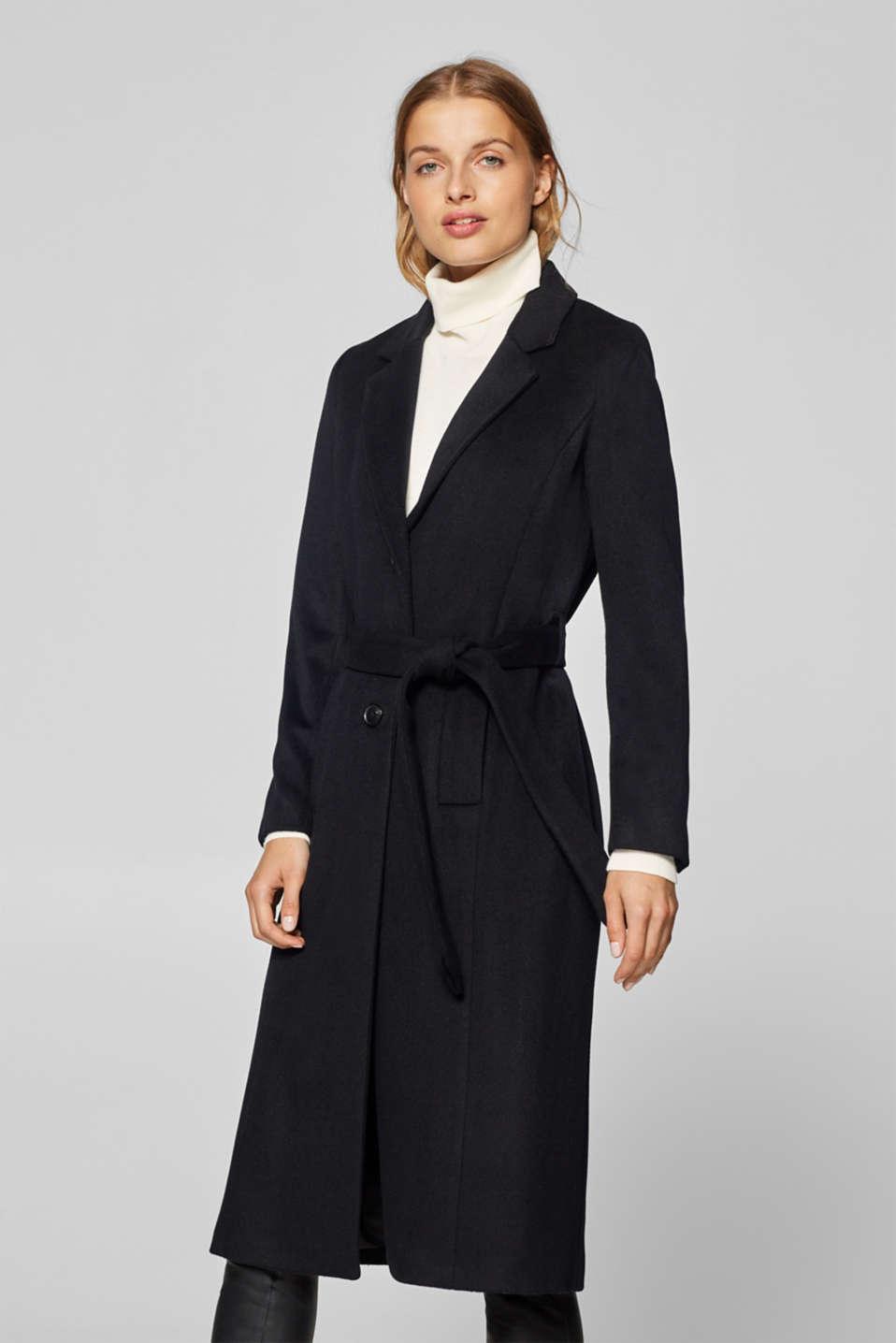 Esprit – Směs vlny a kašmíru  kabát s opaskem v našem on-line shopu 0e9f1bd572