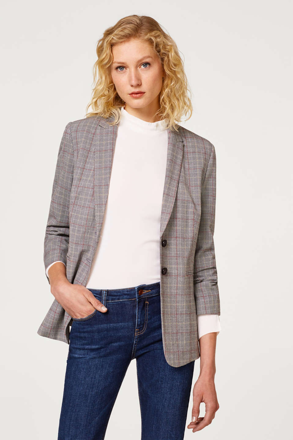 Esprit - Blazer stretch Mix + Match à CARREAUX PRINCE DE GALLES