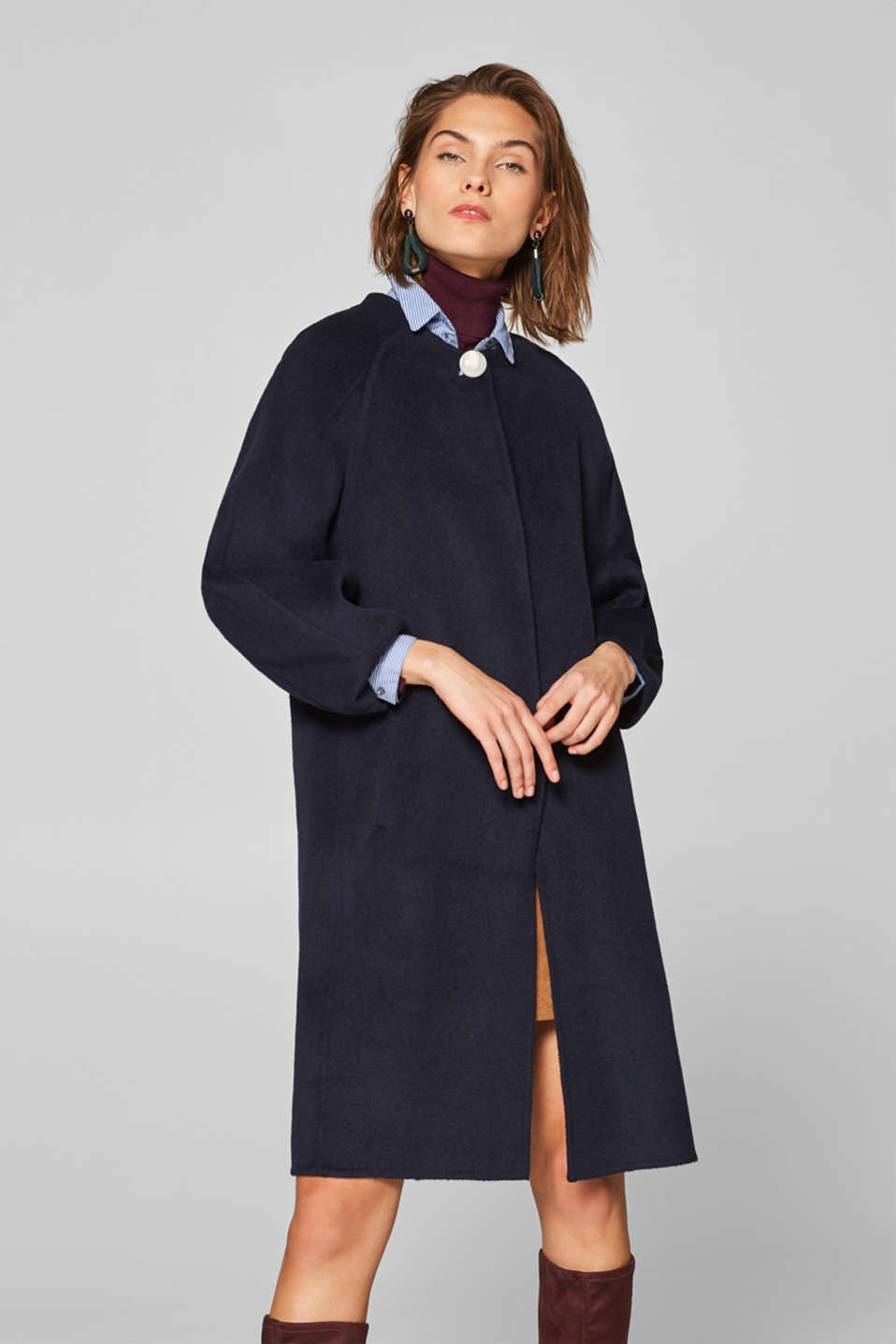 Esprit - Made of blended wool: coat with balloon sleeves