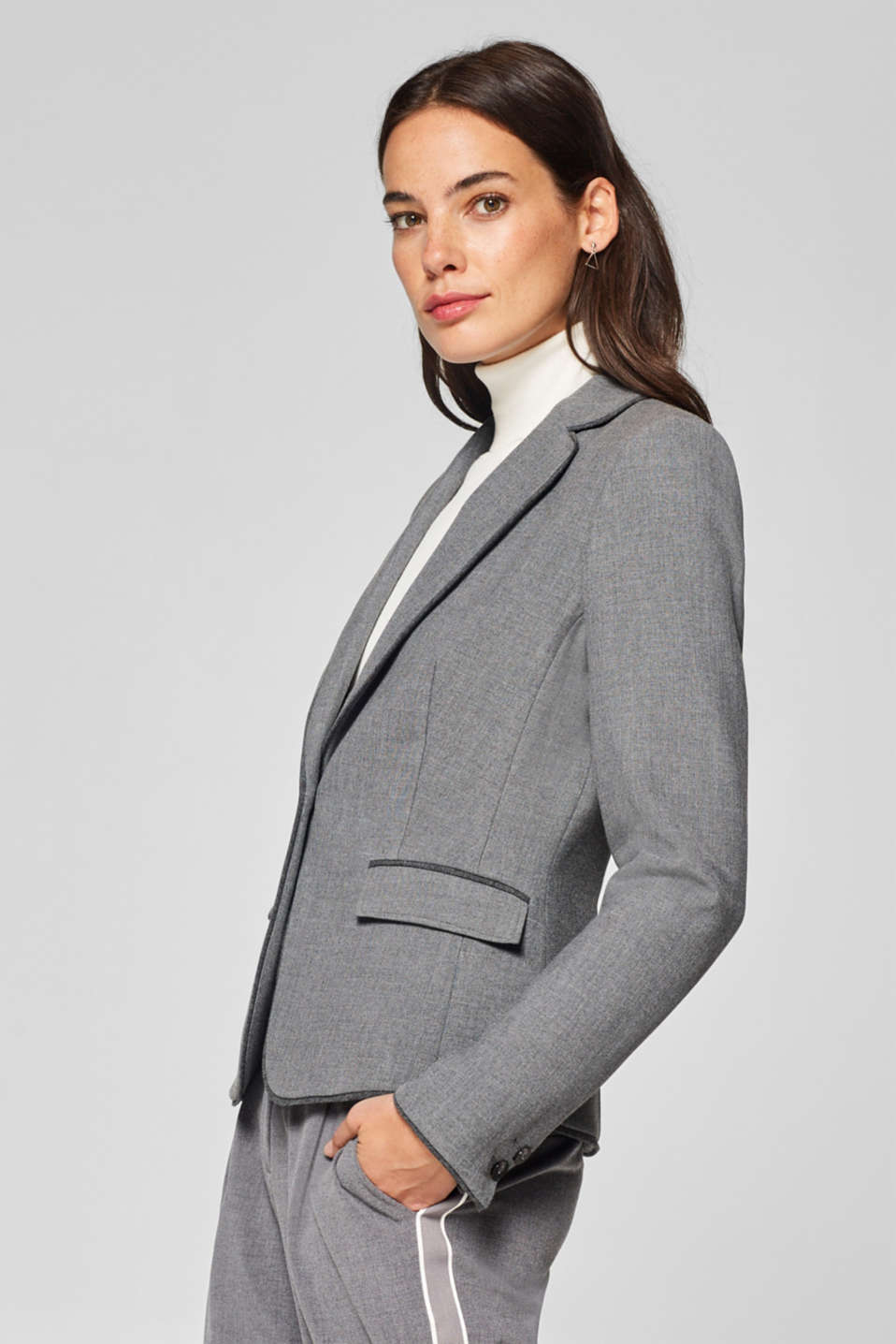Esprit - Piped stretch jersey blazer