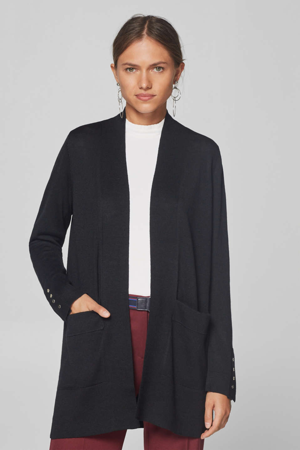 Esprit - Wool blend: long, open-fronted cardigan