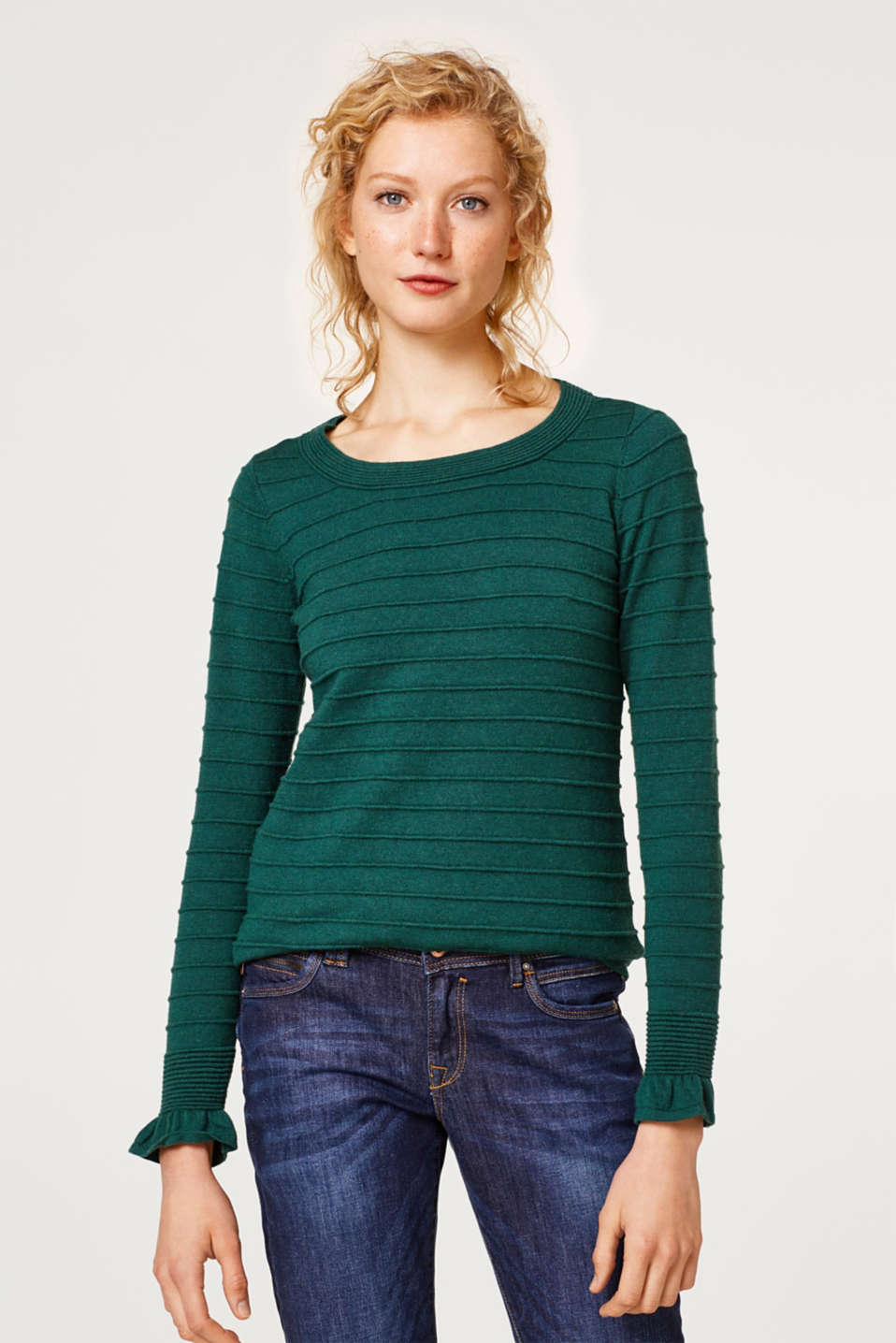 Esprit - With wool and cashmere: textured jumper