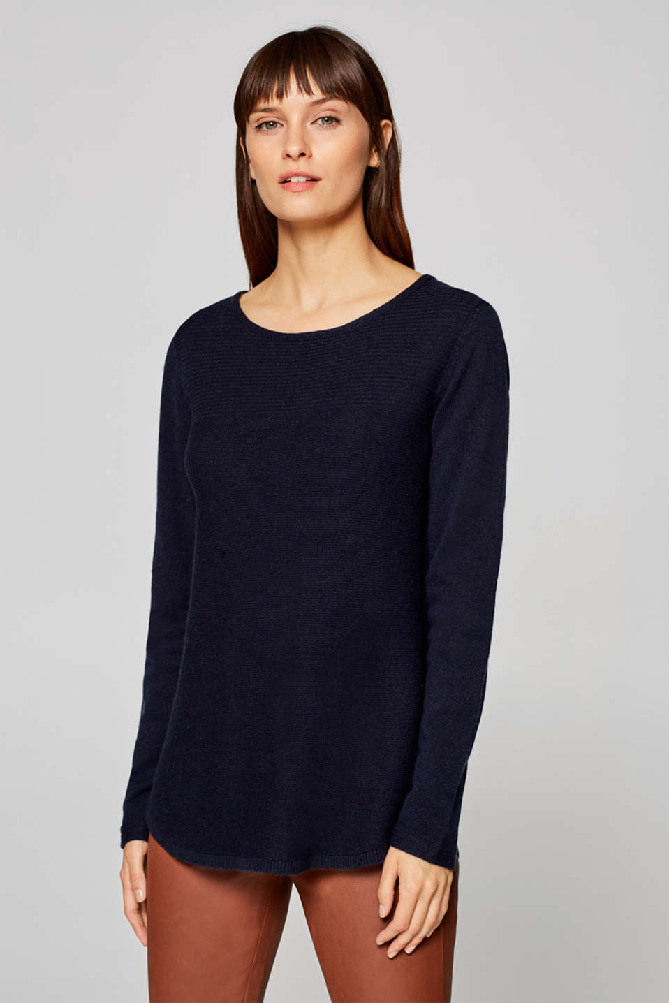 Esprit - Made of wool/cashmere: Textured jumper