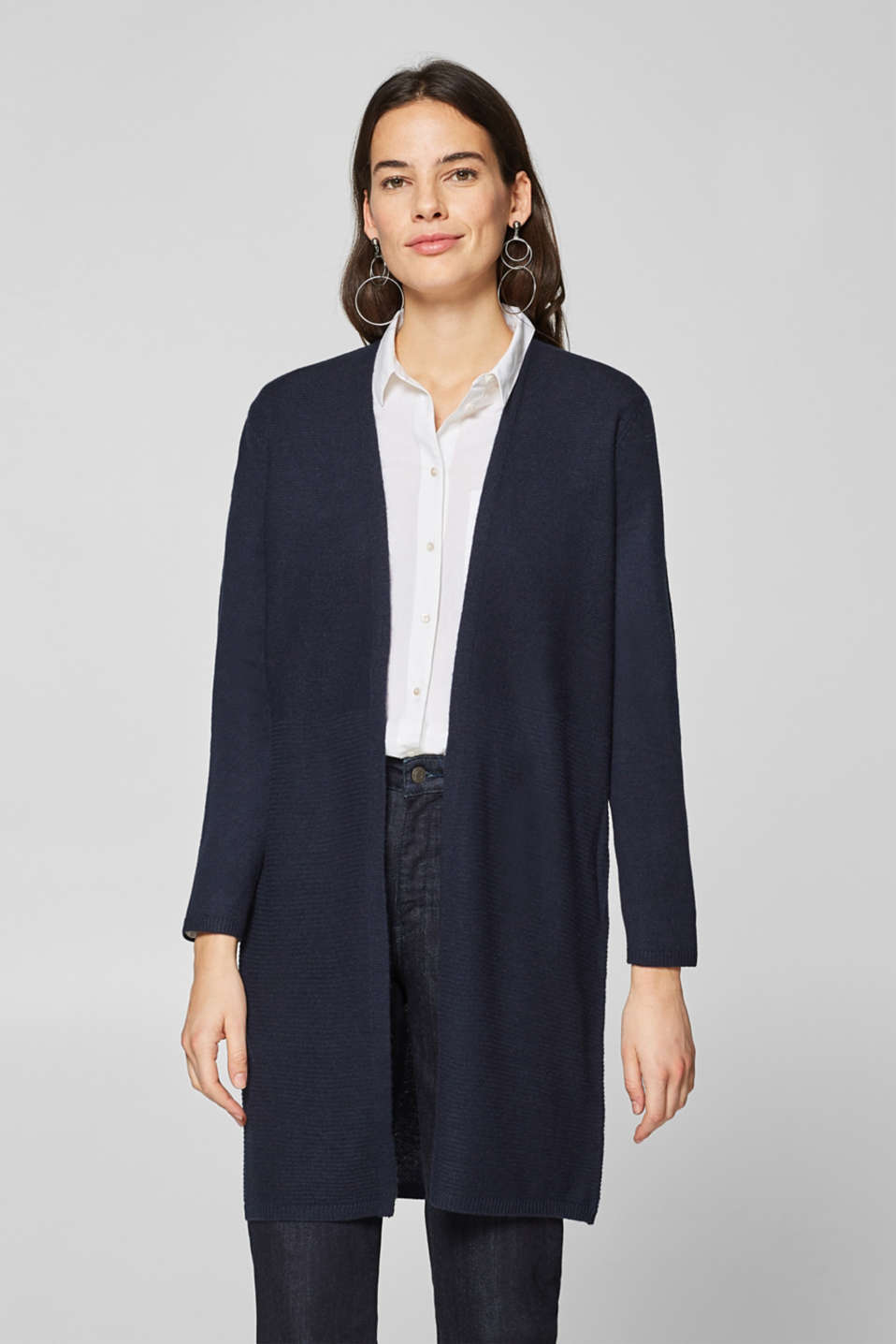 Esprit - Made of wool/cashmere: Textured cardigan