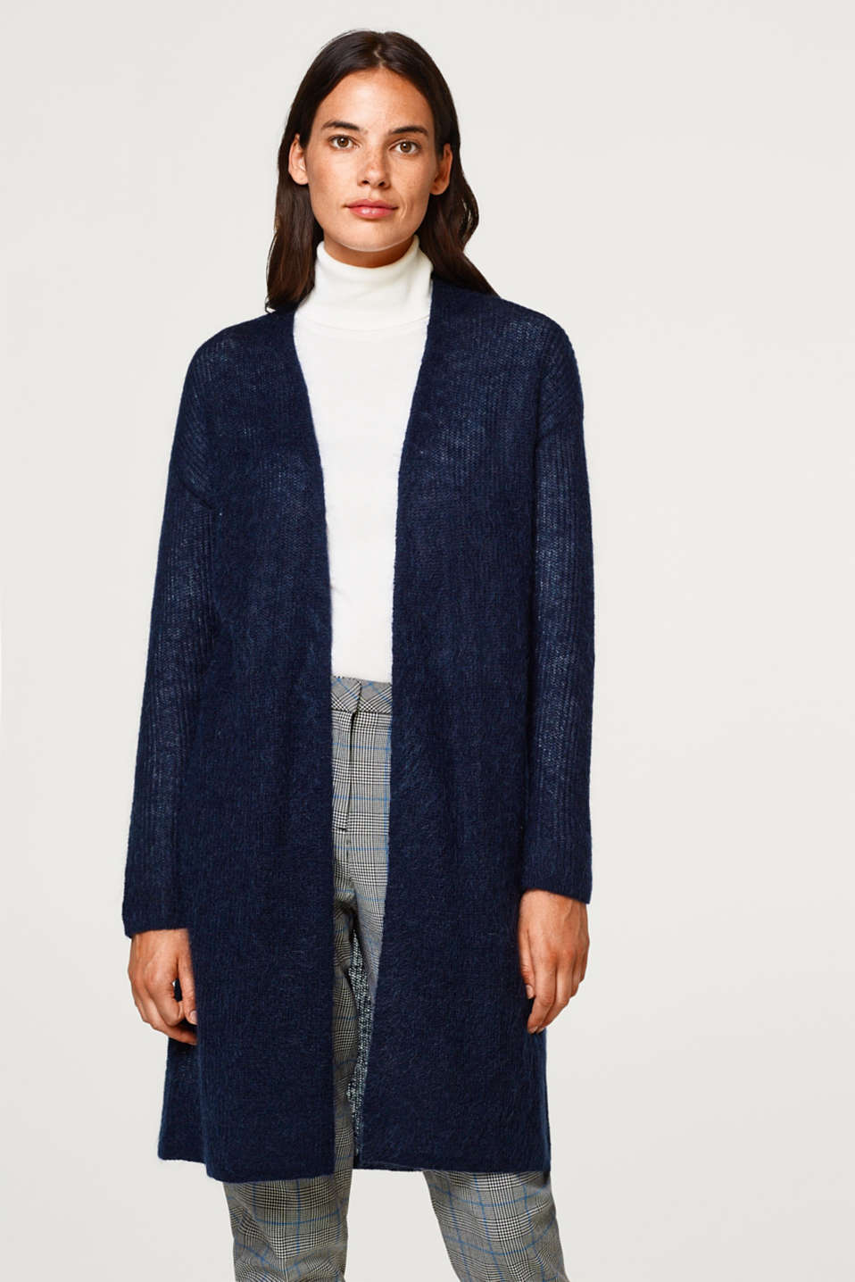 Esprit - With wool and mohair: long, open-fronted cardigan