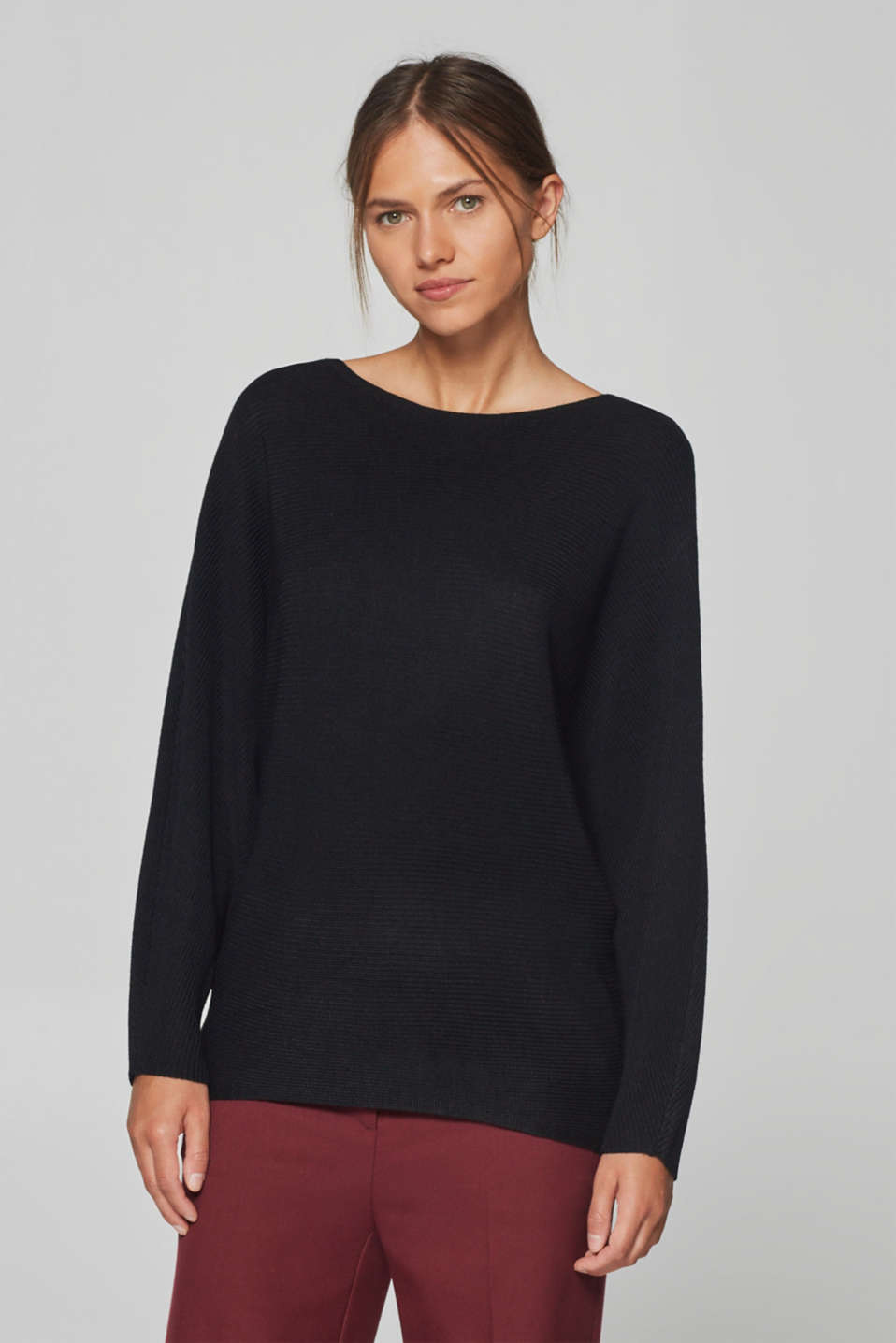 Esprit - Ribbed batwing jumper with wool