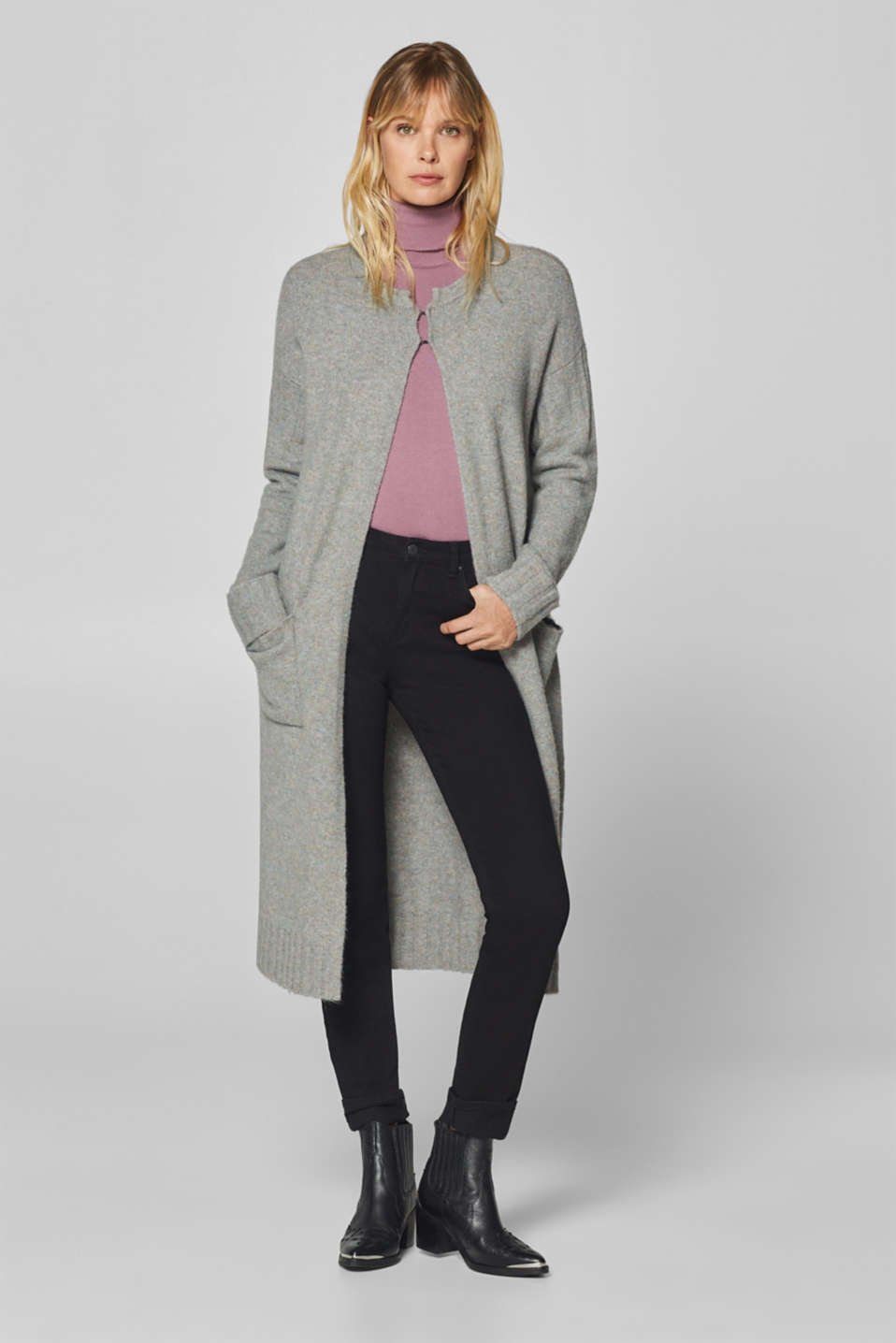 Esprit - Wool blend: long, comfy and stretchy cardigan