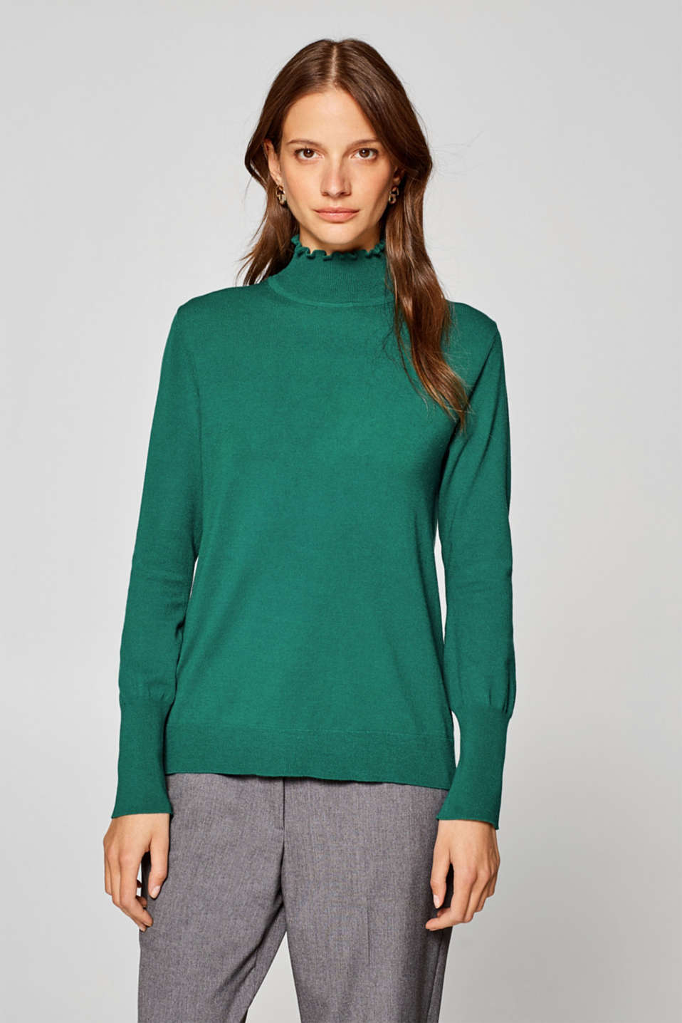 Esprit - Jumper with a frilly band collar