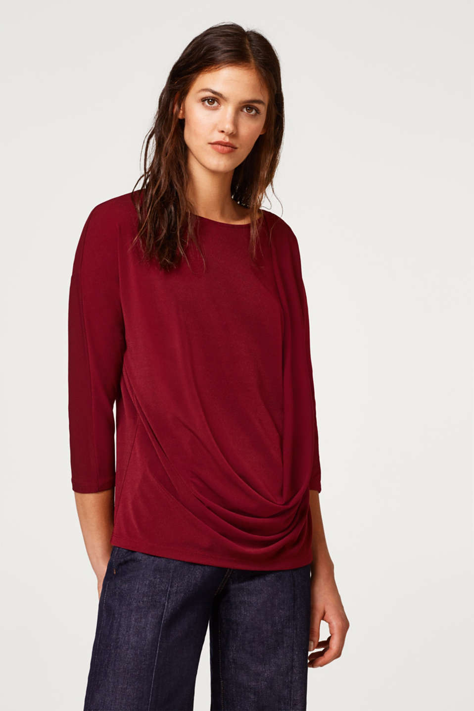 Esprit - Crêpe top with a wrap-over effect