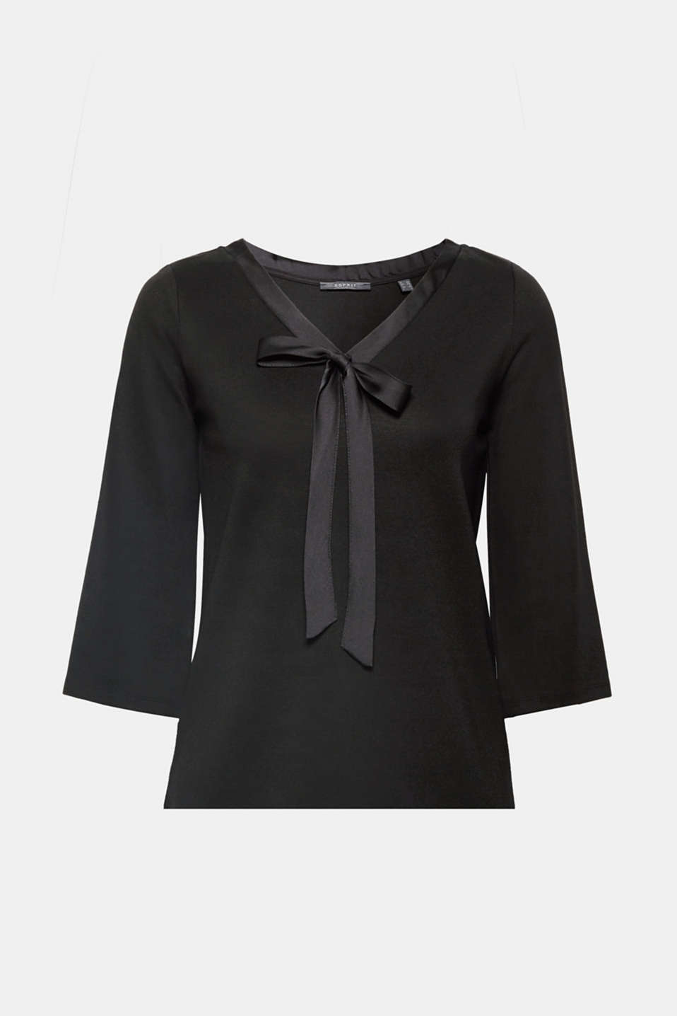Elegant look, ultimate comfort: this stretch T-shirt made of compact jersey gives you both plus the decorative neckline bow looks mega feminine, too!