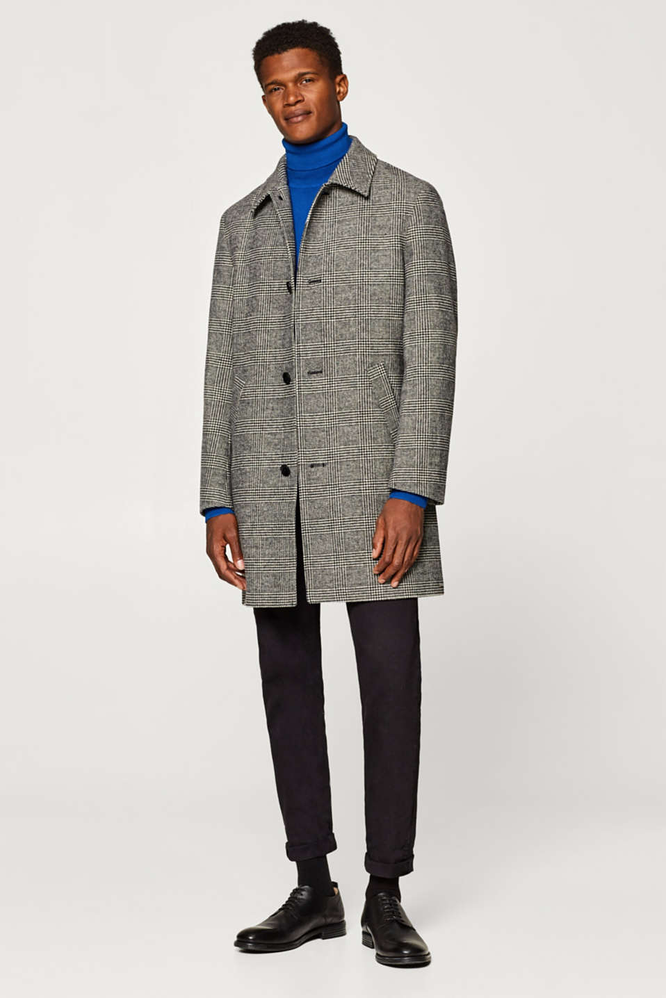 Esprit - Wool blend: Coat with a Prince of Wales check