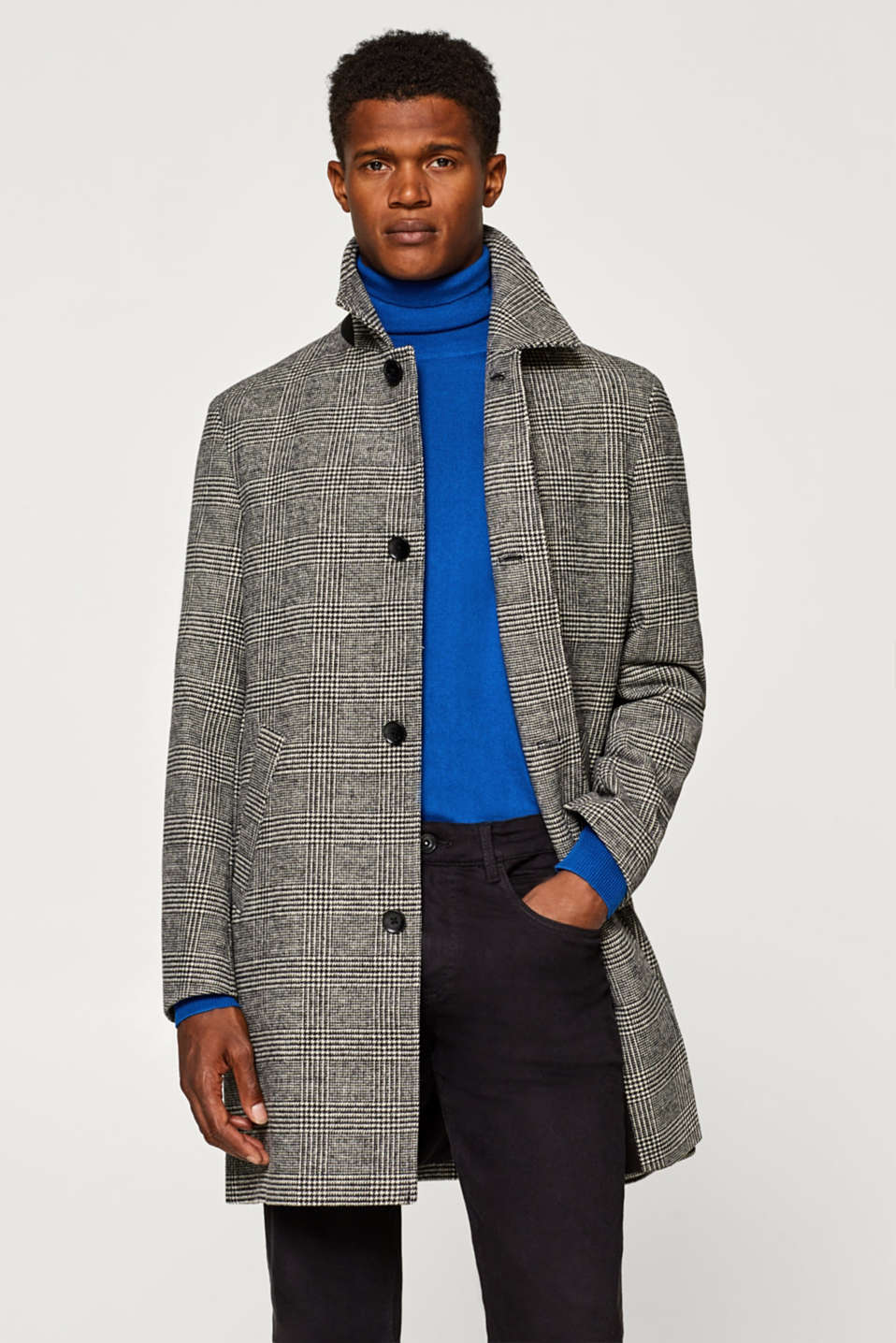 Wool blend: Coat with a Prince of Wales check
