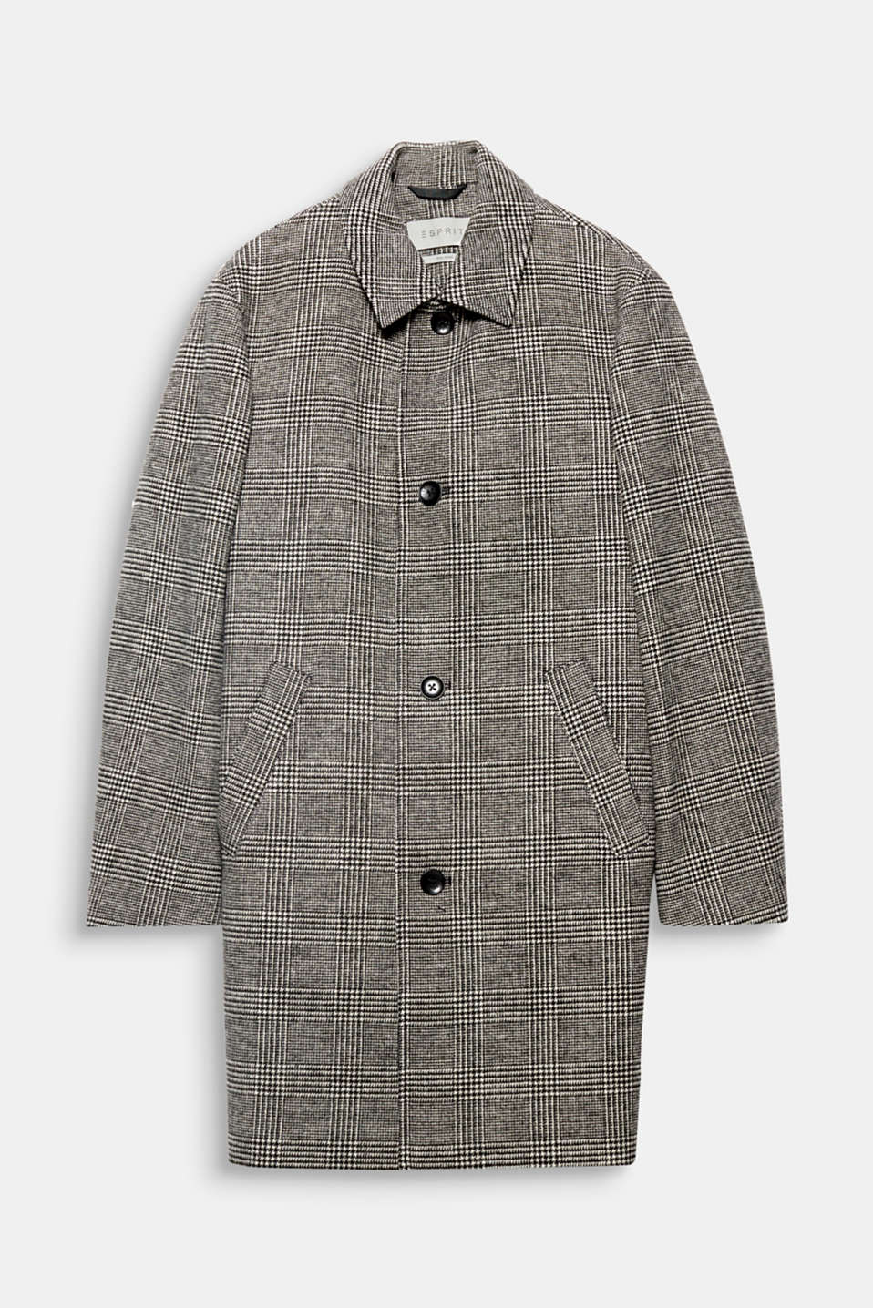 The elegant wool blend and classic Prince of Wales check pattern gives this coat its dapper look.