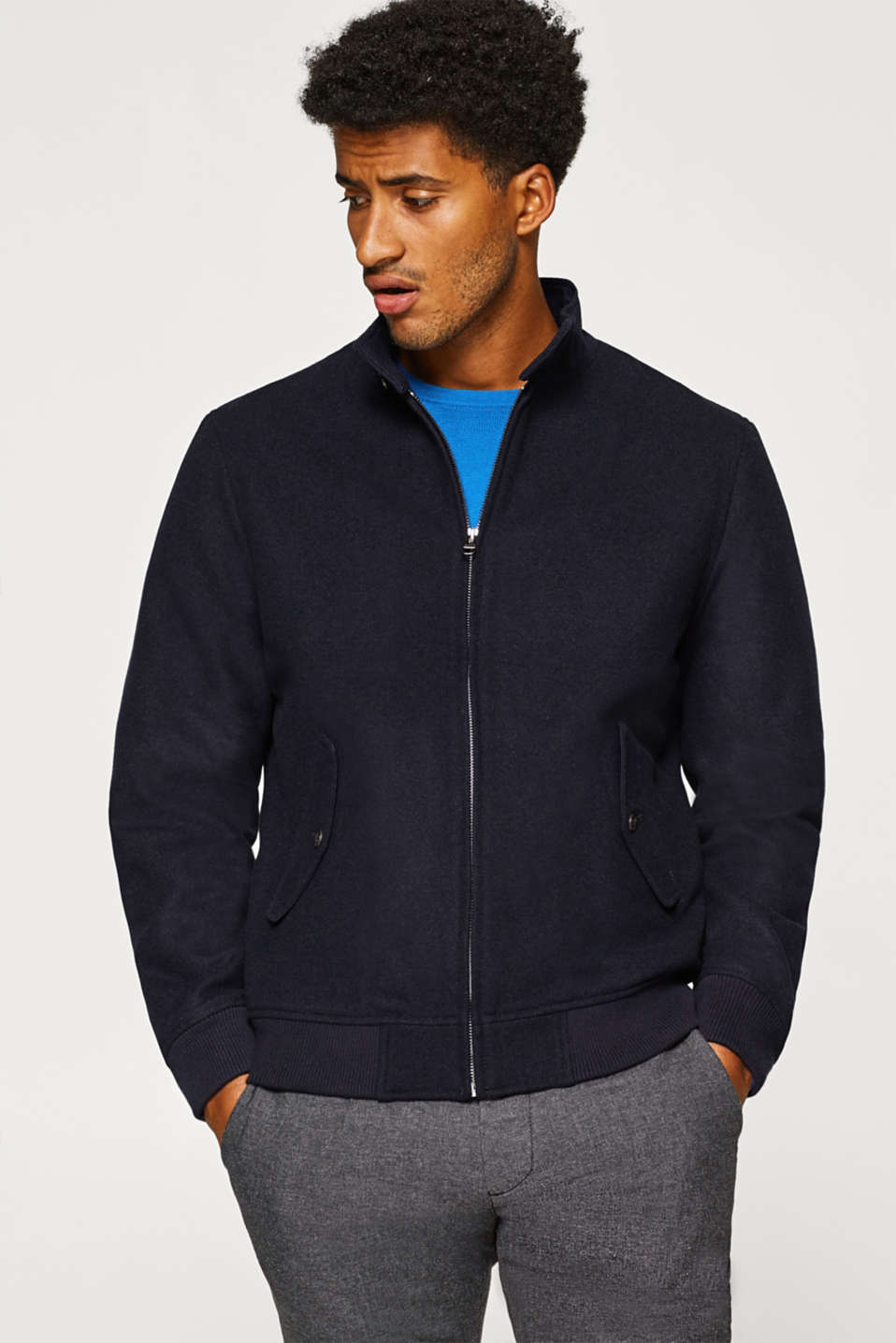 Esprit - Blended wool: Padded bomber jacket with band collar