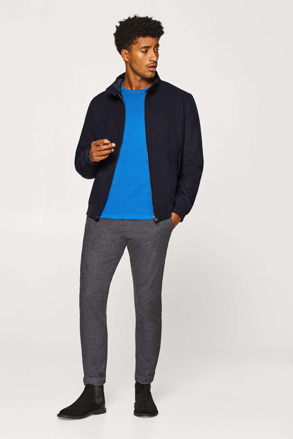 Blended wool: Padded bomber jacket with band collar