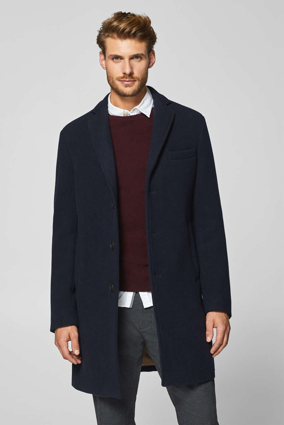 Esprit - Wool coat with row of buttons, wool blend
