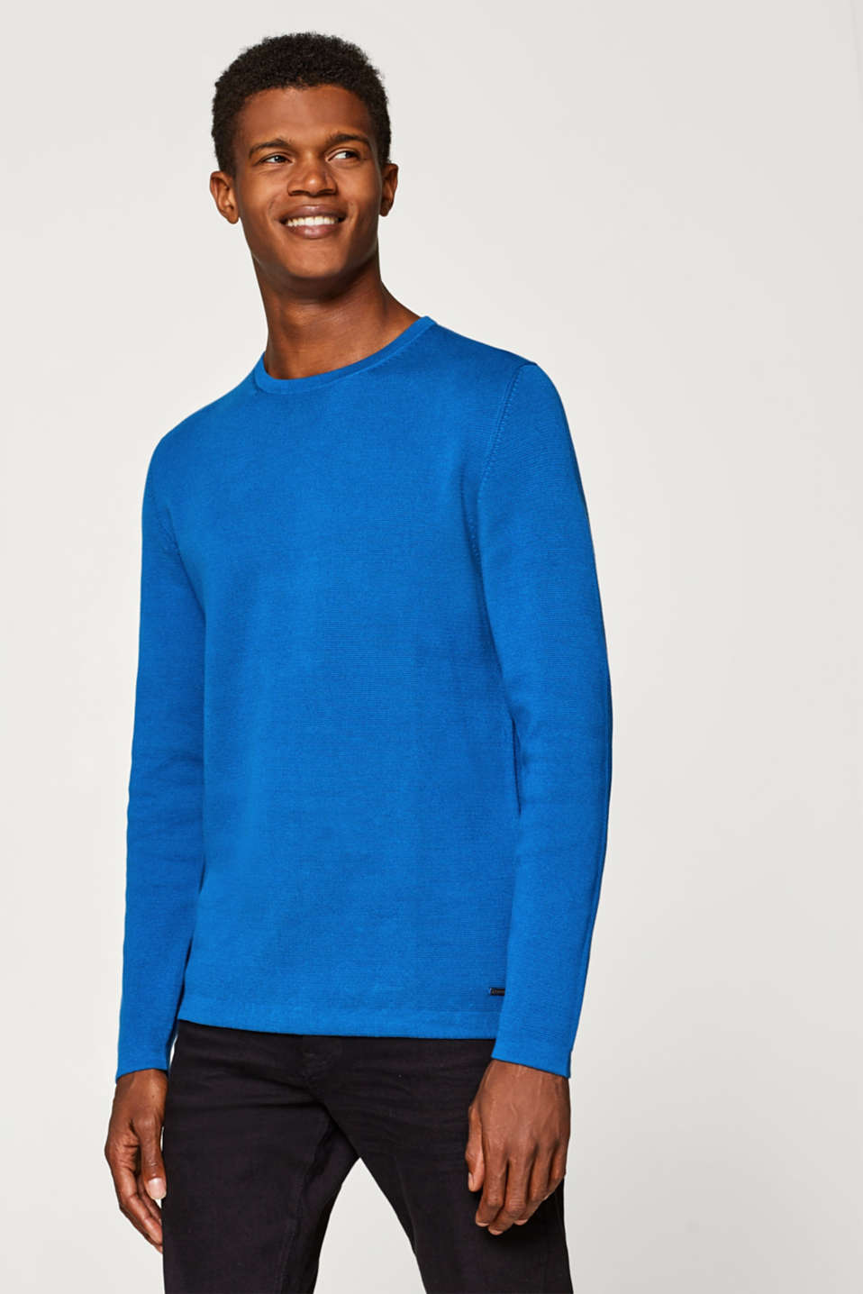 Esprit - Jumper with a Milano texture, 100% cotton