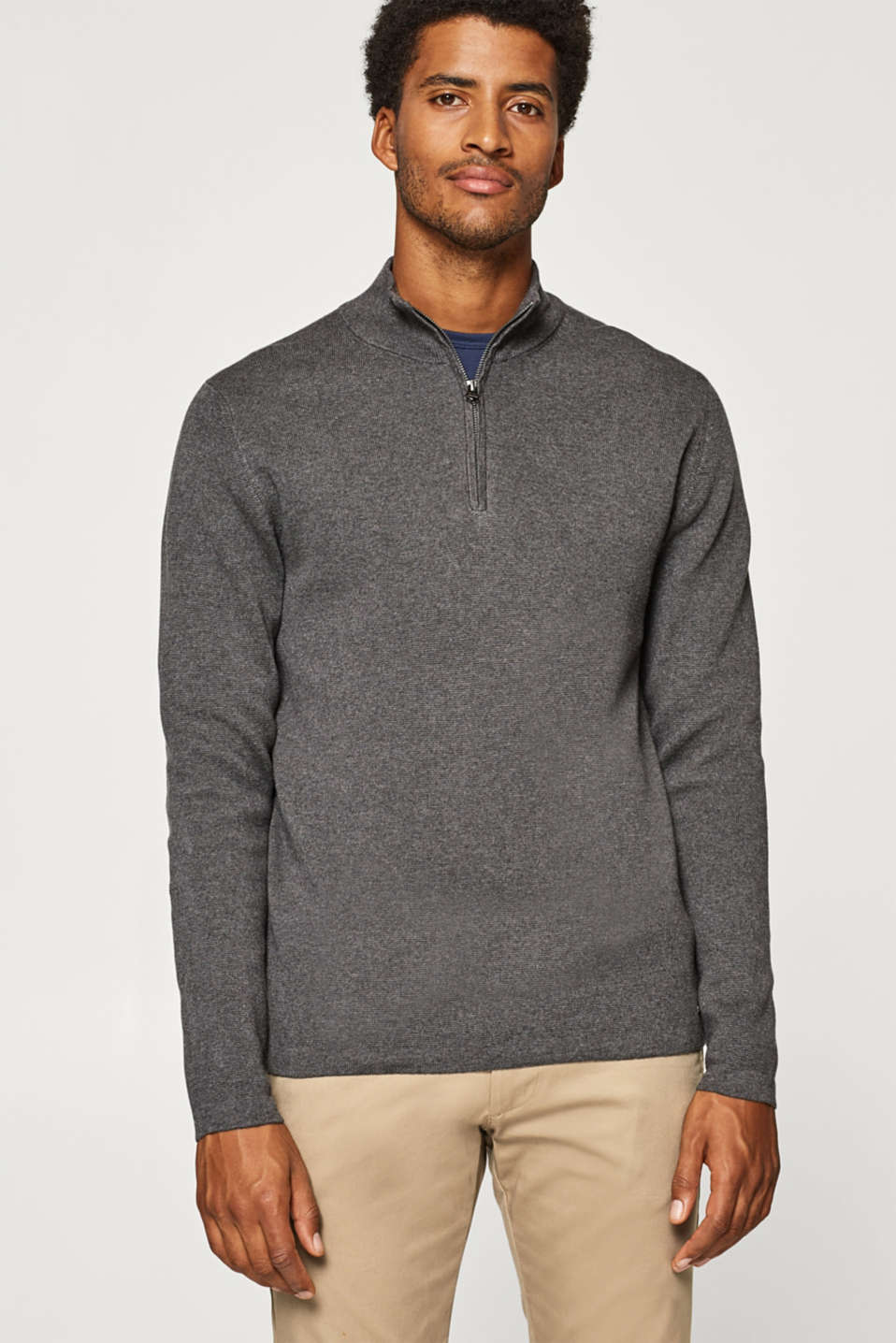Esprit - Jumper with a zip collar, 100% cotton