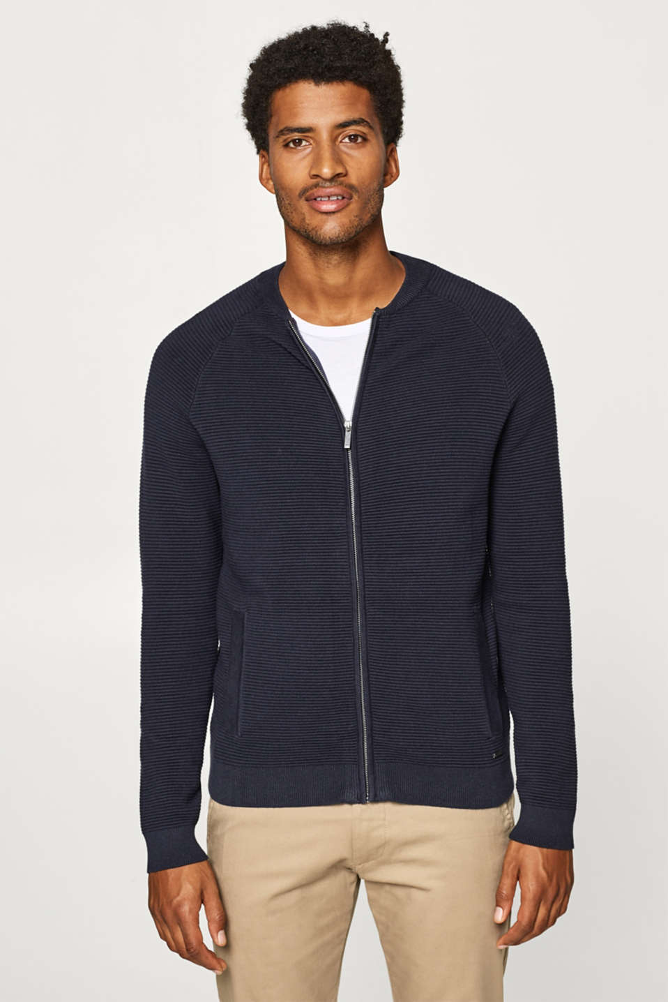 Esprit - Cardigan with textured stripes