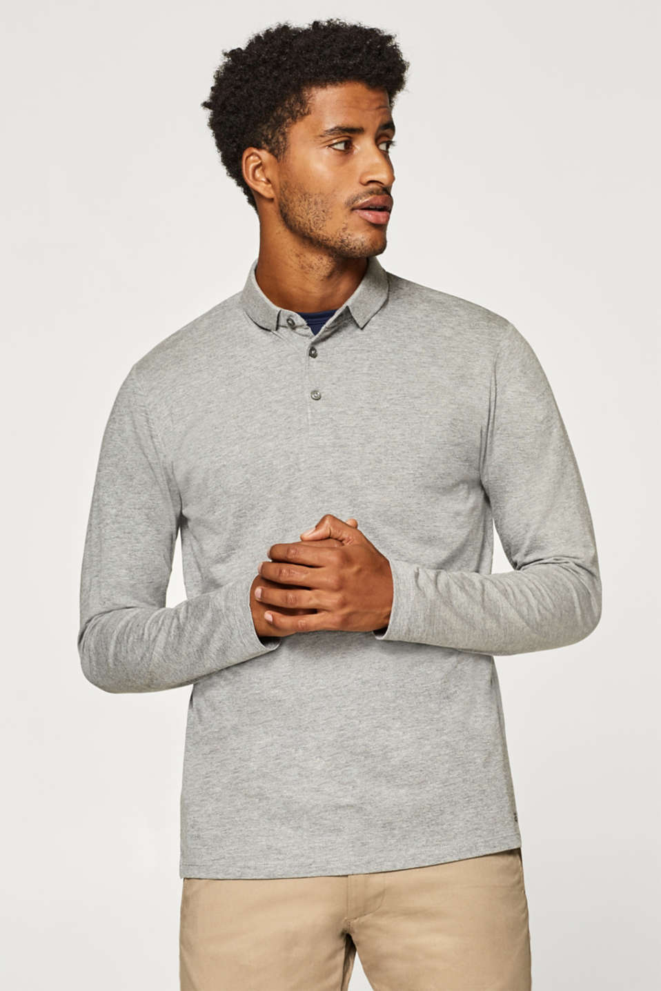 Esprit - Long sleeve polo shirt in blended cotton
