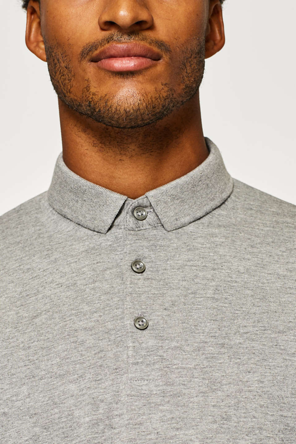 Long sleeve polo shirt in blended cotton