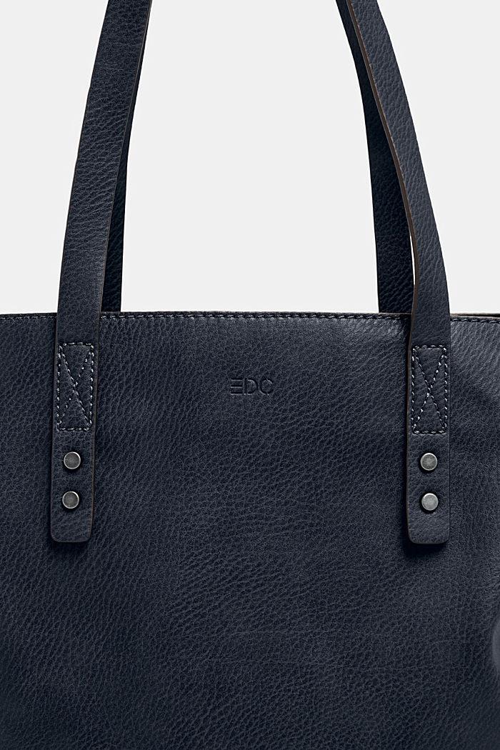 Tote Bag in Leder-Optik, NAVY, detail image number 2