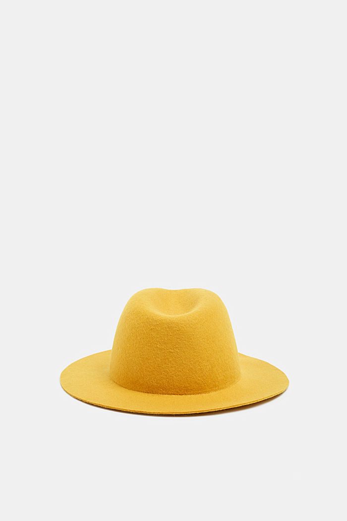 Fedora hat made of 100% wool, HONEY YELLOW, detail image number 3