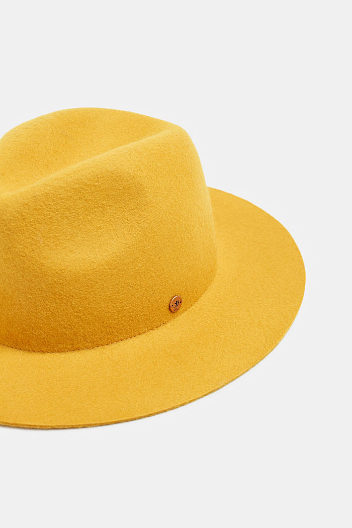 Fedora hat made of 100% wool, HONEY YELLOW, detail image number 1