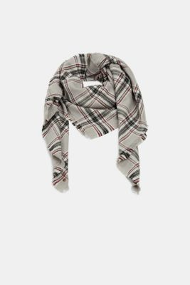 Scarf with colourful woven check pattern, GREY, detail