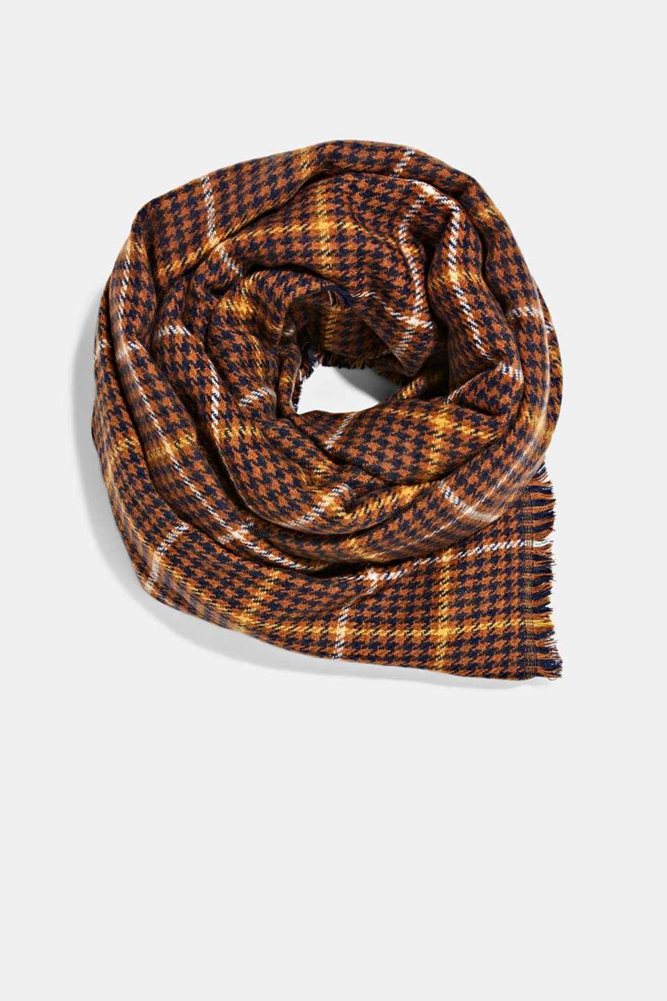 Double-faced scarf with two types of check, NAVY, detail image number 0