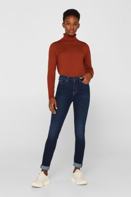 With TENCEL™: Shaping jeans with two-way stretch, BLUE DARK WASH, detail