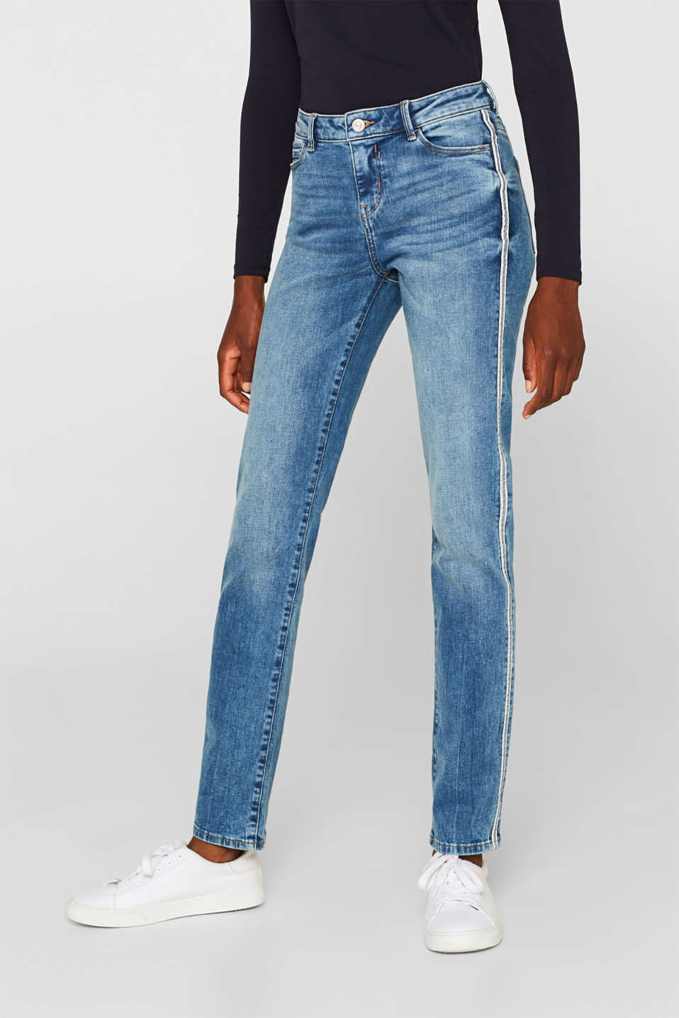 Stretch jeans with racing stripes, BLUE MEDIUM WASH, detail image number 5