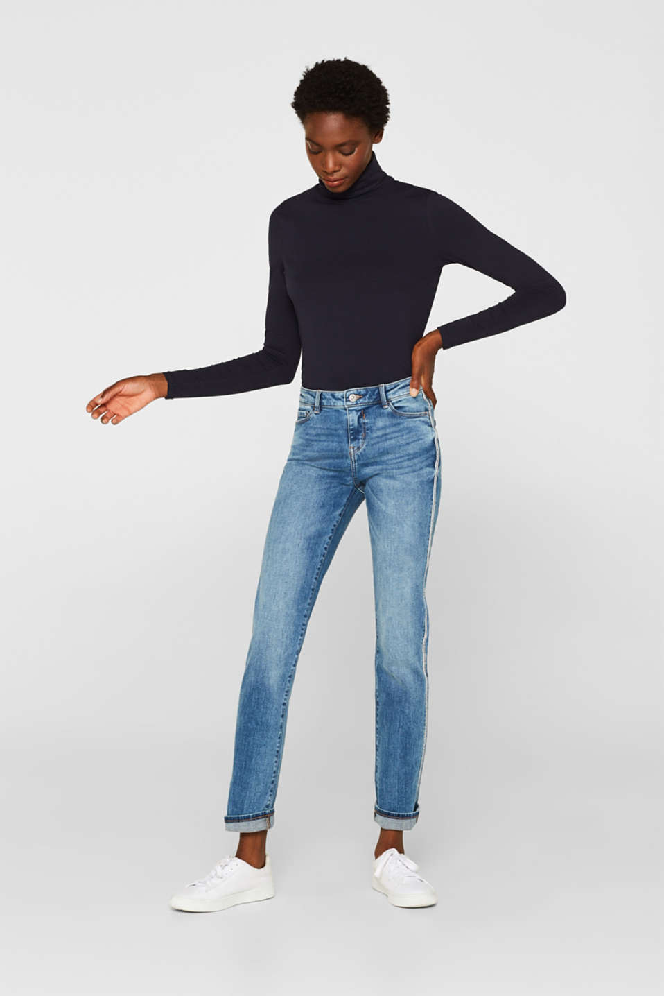Stretch jeans with racing stripes, BLUE MEDIUM WASH, detail image number 1