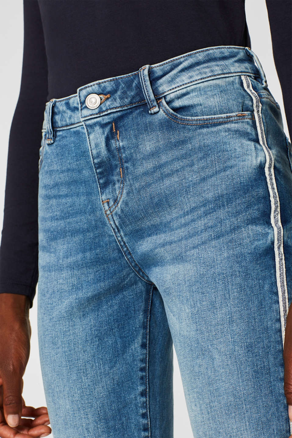 Stretch jeans with racing stripes, BLUE MEDIUM WASH, detail image number 2