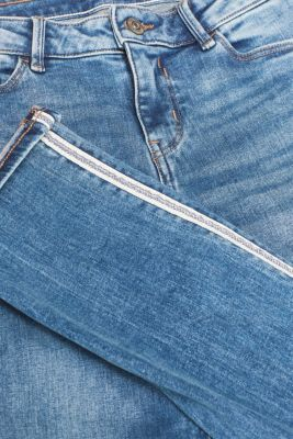 Stretch jeans with racing stripes, BLUE MEDIUM WASH, detail