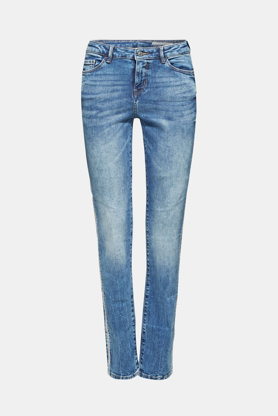 Stretch jeans with racing stripes, BLUE MEDIUM WASH, detail image number 6
