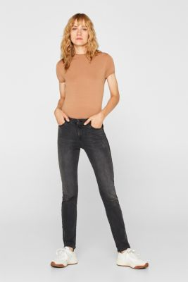 Stretch jeans with woven stripes, BLACK MEDIUM WASH, detail