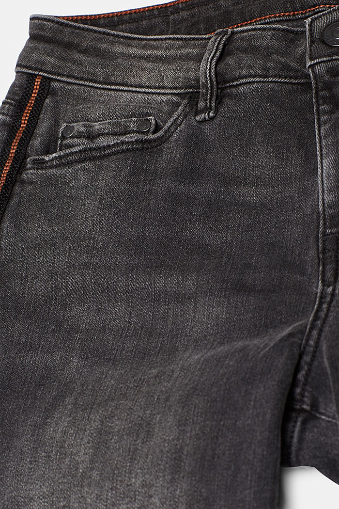 Stretch jeans with woven stripes, BLACK MEDIUM WASHED, detail image number 4