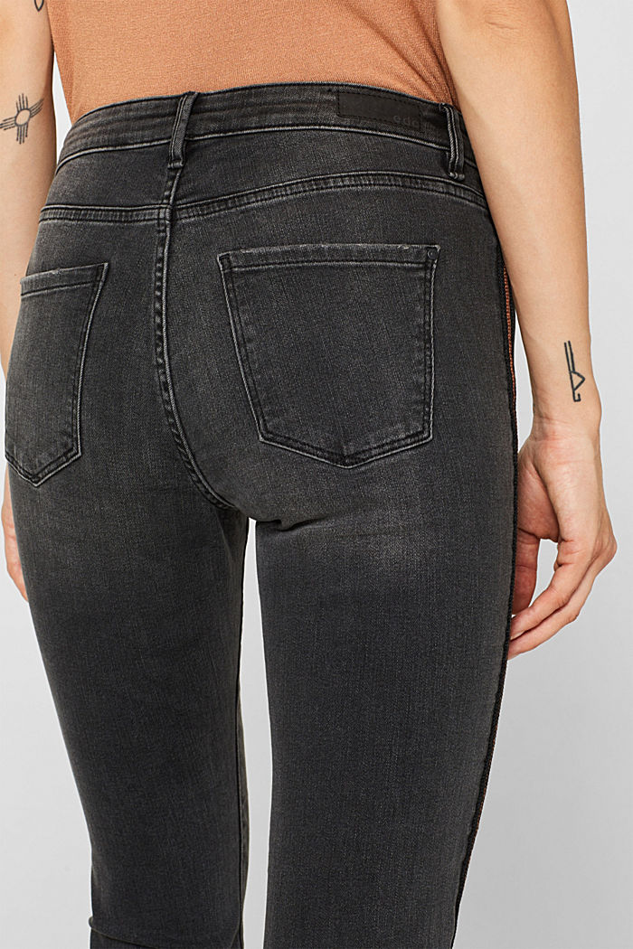 Stretch jeans with woven stripes, BLACK MEDIUM WASHED, detail image number 5