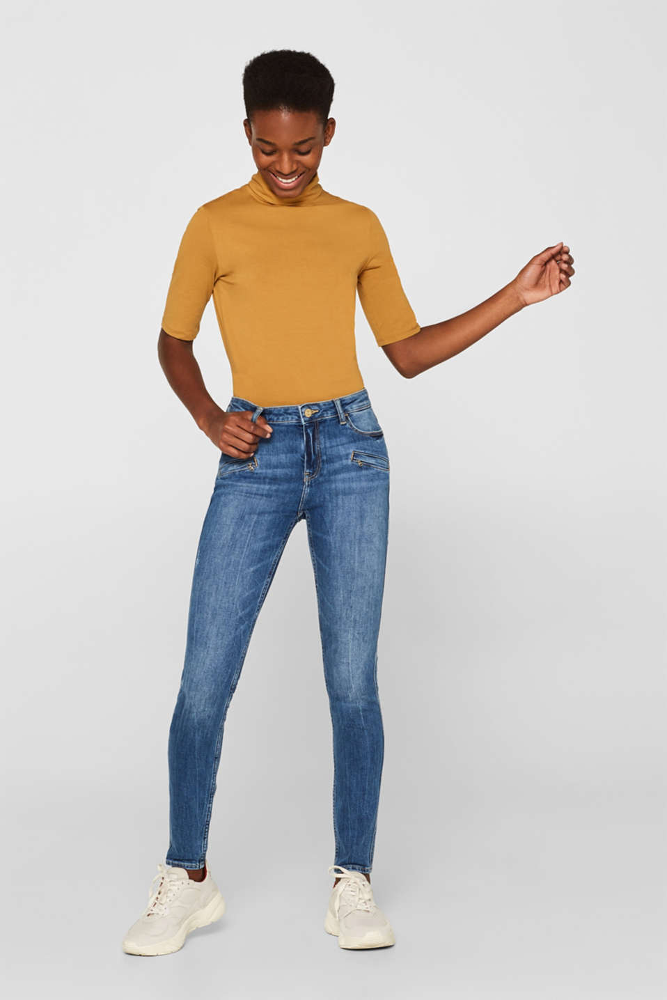 edc - Stretch jeans with zip details
