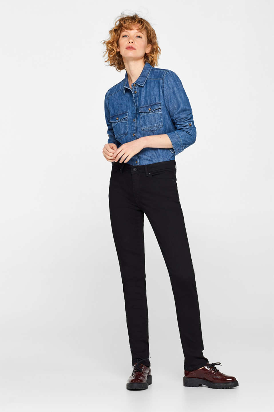 edc - Stretchjeans i sort denim