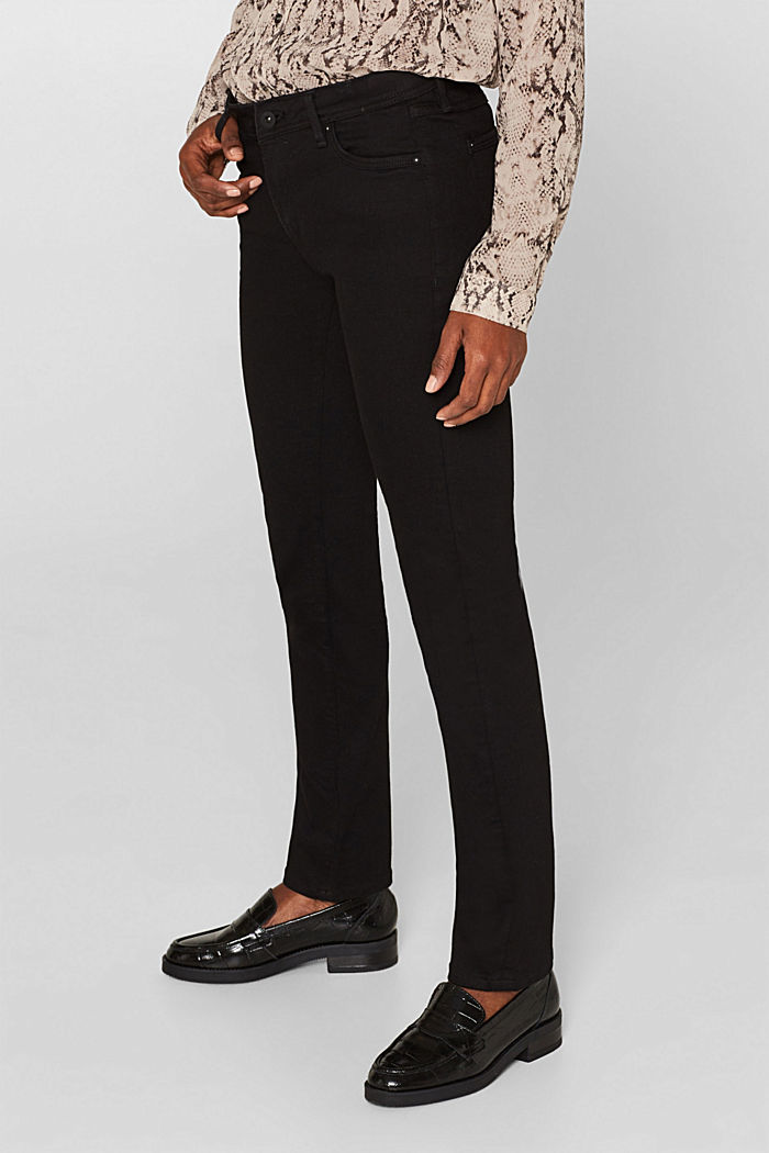 Stretch jeans in black denim, BLACK RINSE, detail image number 6