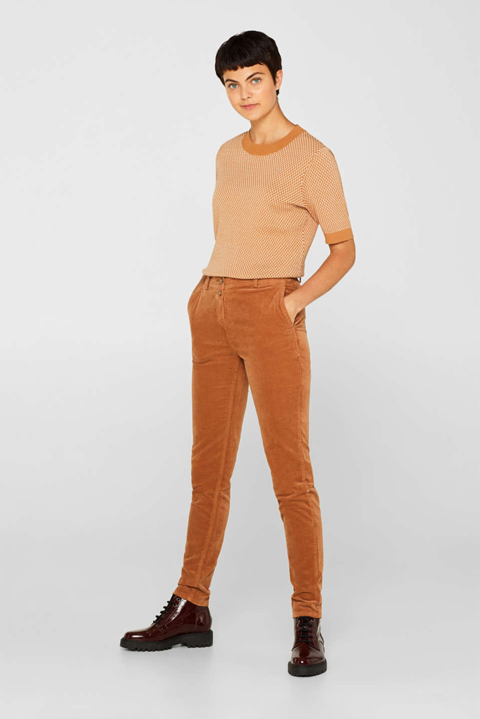 Stretch cord chinos, CARAMEL, detail image number 0